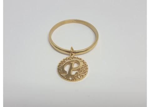 Stainless Steel Bracelet with Letter Pendant for Women
