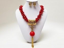 Exclusive Stainless Steel and Coral Set for Women